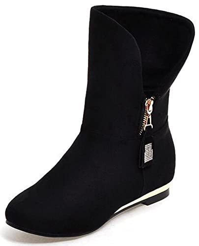 Women's Buckle Strap Block Medium Heel Ankle Booties Round Toe Faux Suede Side Zipper Short Boots