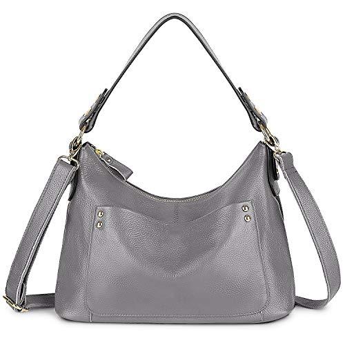 Women's Large Purse Retro Sling Shoulder Bag Genuine Leather Crossbody Tote Handbag from Yaluxe grey