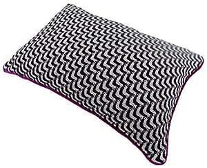 zigzag Tejido MAGENTA Negro Plata Blanco Cobertor De Cojín Entubado 35 x 50cm