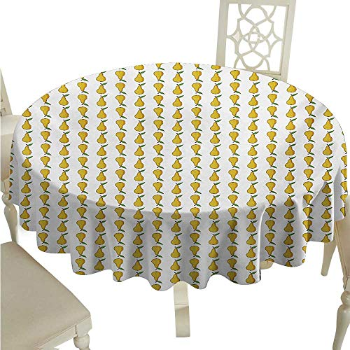 Pear Decorative Textured Fabric Tablecloth Pattern with Little Graphic Pears Up and Down Fresh Juicy Fruit Waterproof/Oil-Proof/Spill-Proof Tabletop Protector D54 Pale Earth Yellow Green White