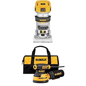"""DEWALT 1.25 HP Max Torque Variable Speed Compact Router with Dual LEDs and Variable Speed Random Orbit Sander, 5"""""""