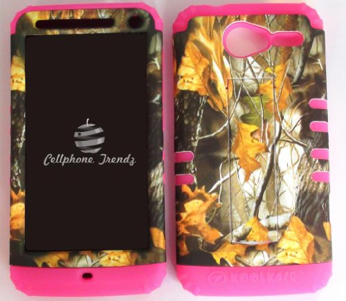 Cellphone Trendz Hybrid 2 in 1 Case Hard Cover Faceplate Skin Pink Silicone and Camo Mossy Hunter Dry Leaves Snap Protector for Motorola Electrify M XT901 + Free Wristband Accessory - Hunter Motorola Faceplates
