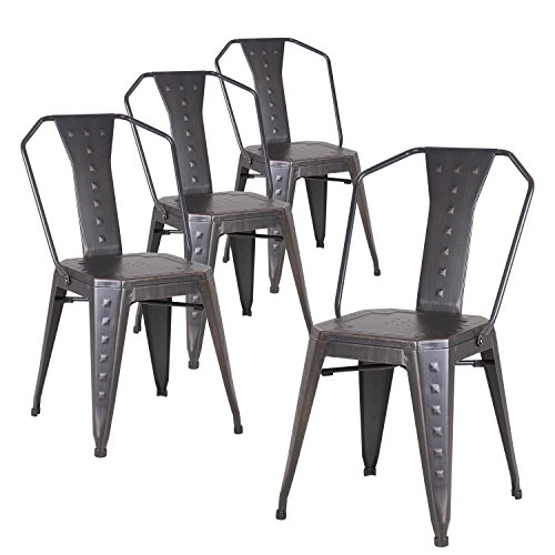 Dining Outdoor Side Chair (LCH Indoor/Outdoor Metal Stackable Dining Chairs, Set of 4 Industrial Style Bistro Cafe Side Chairs, 350LB Limit, Sanded Black)