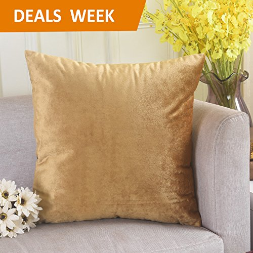 Deluxe Velvet Square Accent Throw Pillow Cover Cushion Case for Bedroom by Home Brilliant, 18 x 18, Gold (Gold Pillow)