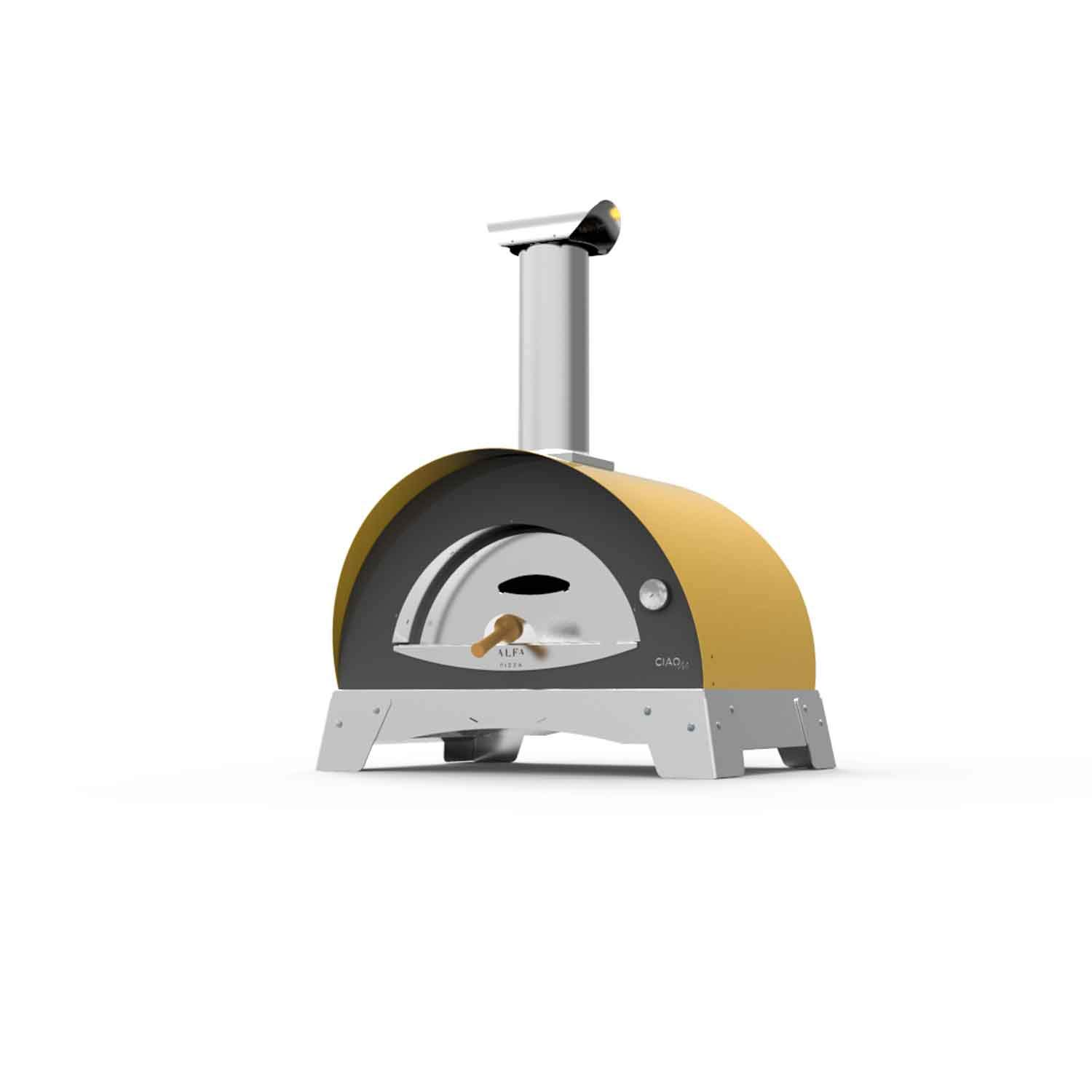 """ALFA Ciao M 27"""" Countertop Wood Fired Pizza Oven (FXCM-LGIA-T), Yellow"""