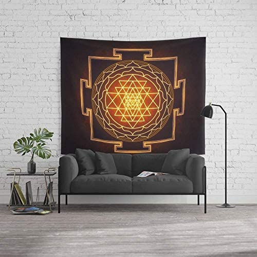 wenhuamucai Wall Tapestry, Size Large 60 x 51, Sri Yantra XI Decor for Living Room Bedroom Dorm