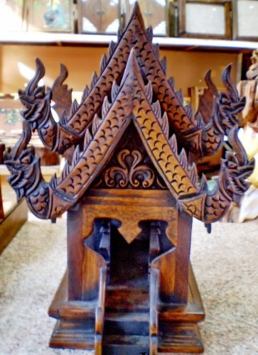 Spirit House, Traditional Thai ,Made From Teak Woodthe Temple Has Two Roofs, Inc.. by Thai Craft