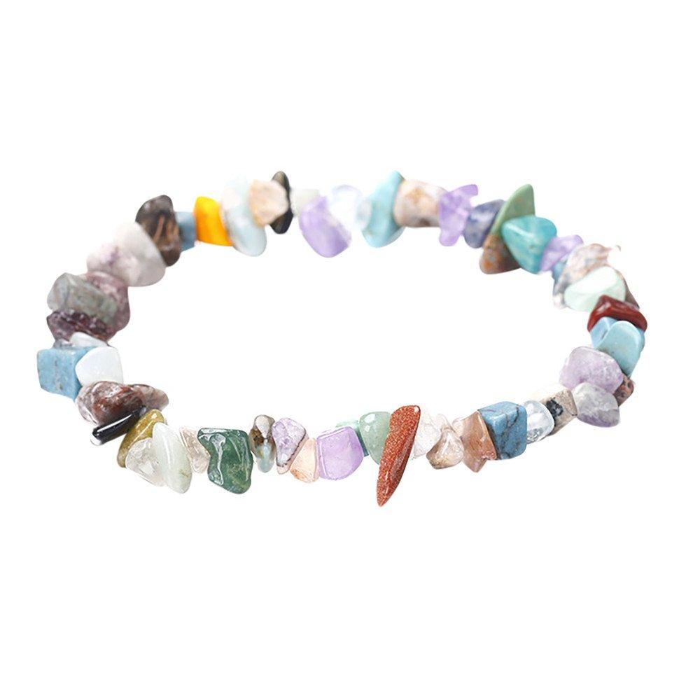 DaoAG-Accessories Gemstone Charm Bracelet for Women Reiki Stretchy Bead Bracelets Jewelry Fashion Chain Bracelet Simple Bangle Wrap Bracelets for Women & Girls (M)
