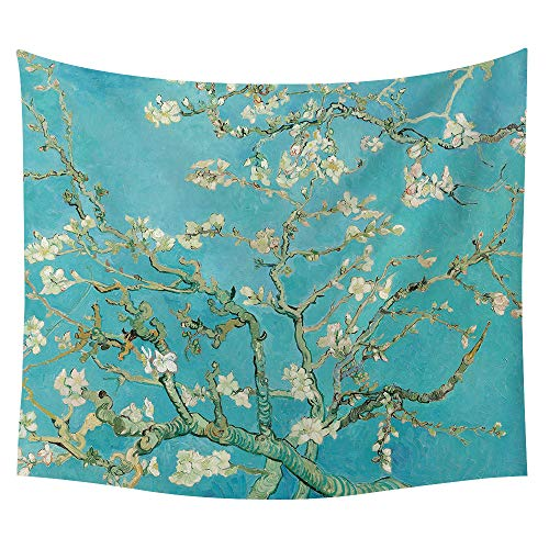 SOFTBATFY Van Gogh Oil Painting Tapestry Headboard Wall Art Bedspread Dorm Tapestry Home Decor (Medium, Almond Blossoms)