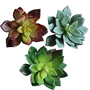 "Assorted set of 3 Artificial Succulent Cabbage Echeveria Picks Faux Succulents 3 colors(green,soft green,plum green),3.6"" Tall X 4.4 "" Bloom Diameter"