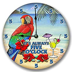 Fancy This ITS Always 5 O'CLOCK Wall Art Clock Novelty Margarita Parrot 10 1/2