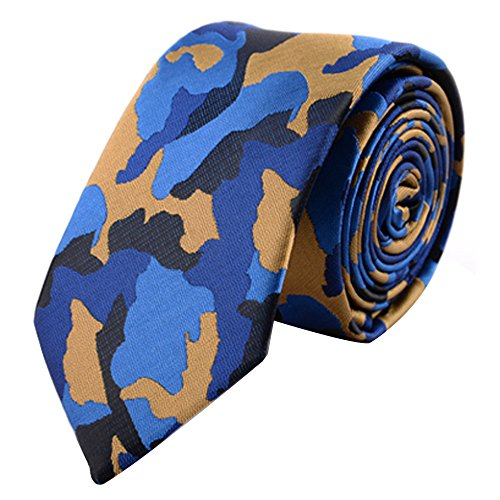 Mens Classic Skinny Tie New Fashion Woven Silk Necktie for Date Wedding Party Dress (Blue -