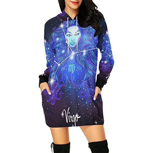 Constellation Zodiac Sign Virgo Women's Pullover Hoodie Sweatshirt Dress