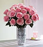 Pink Roses, 12-24 Stems 24 Stems with Embossed Silver Vase by 1-800 Flowers