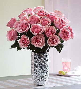 Pink Roses, 12-24 Stems 24 Stems with Embossed Silver Vase by 1-800 Flowers by 1-800-Flowers