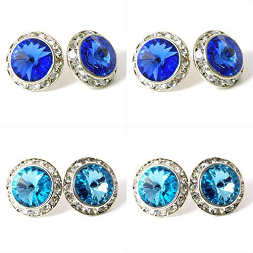 - 4 Pairs 15mm Rhinestone Round Shaped Acrylic Stone Inside Crystal Ear Studs for Dance Competitions Stage Performance Bridal Party Earrings Jewelry Sapphire Aqua