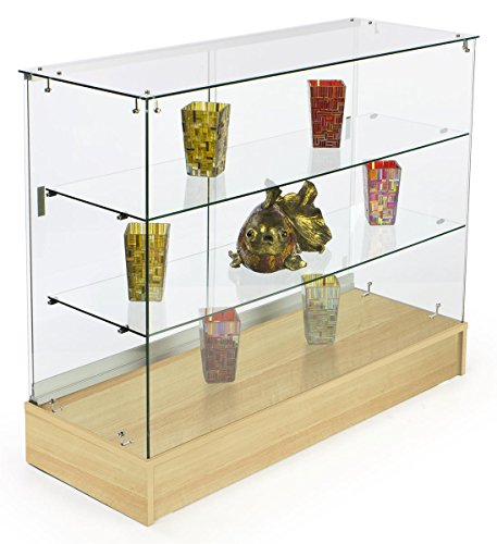 Displays2go Frameless Retail Cabinets, 2 Shelves, Tempered Glass, Laminated Particle Board – Maple Finish (FRC4HMKD) by Displays2go