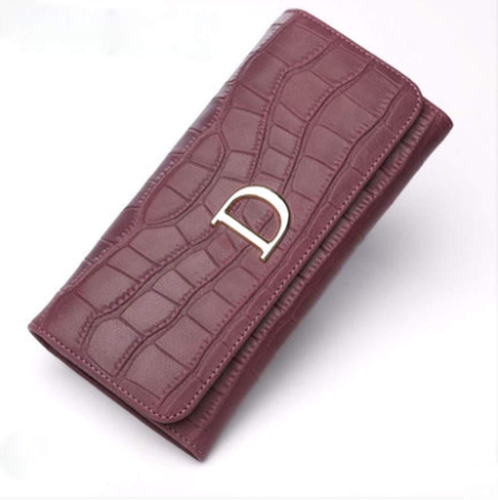 bluee New Leather Ladies Wallet, Female Models Long Paragraph Can Put Mobile Phone Large Capacity Wallet Zipper Fashion Portable Wallet (color   bluee, Size   19cmX9cm)