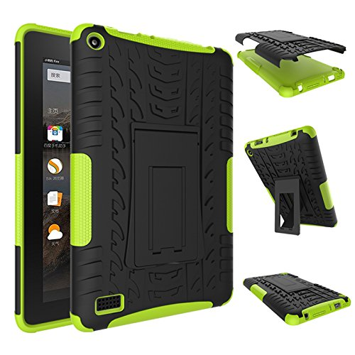 Fire 7 2015 Case, Amazon Fire 7 Case, NOKEA Hybrid Heavy Duty Armor Protection Cover [Anti Slip] [Built-In Kickstand] Skin Case For Amazon Fire 7 5th Generation 2015 Release Tablet (Green)