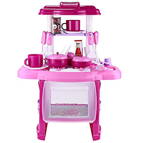 Kids Simulation Kitchen Cookware Pretend Role Play Toy with Music Light (PINK)