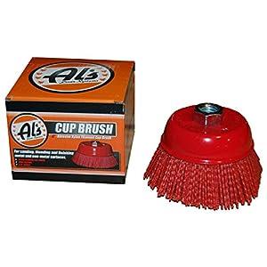 Al's Liner TOOR4 4 Inch Abrasive Nylon Bristle Cup Brush, 180 Grit, 1 Pack