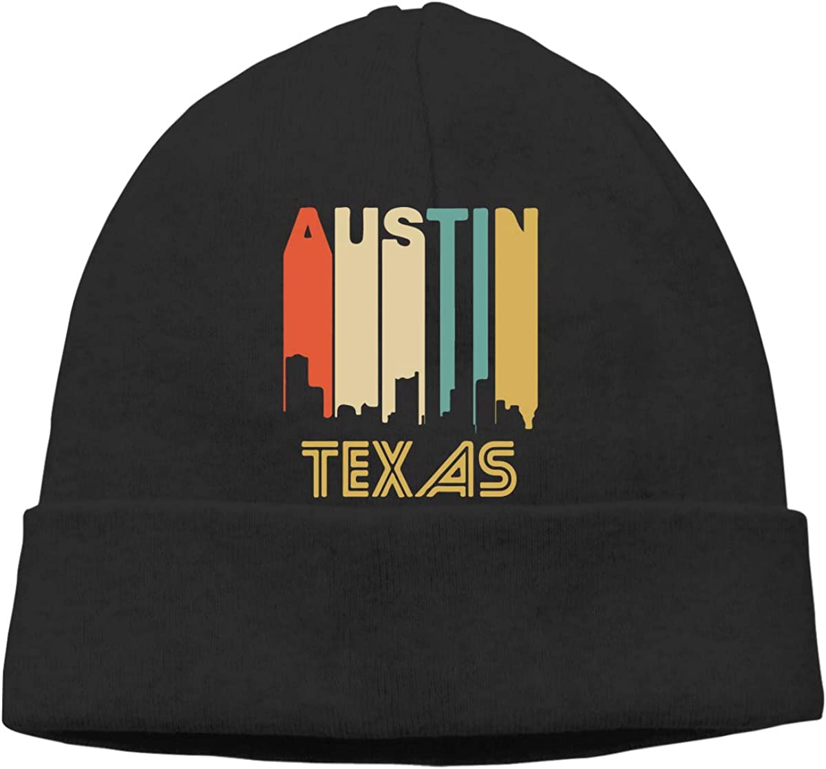 COLLJL8 Unisex Retro 1970s Style Austin Texas Skyline Outdoor Warm Beanies Hat Soft Winter Skull Caps