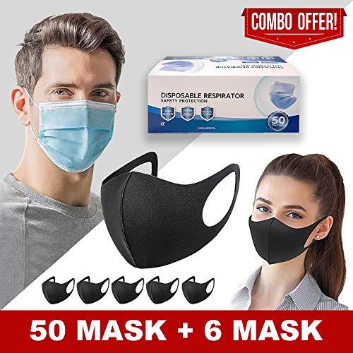 50 PCS Face_Masks_Disposable & 6 Pcs Reusable Face_Mask Washable for Adults, Disposable_Protective_Breathable_Face…