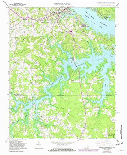 YellowMaps Clarksville South VA topo map, 1:24000 Scale, 7.5 X 7.5 Minute, Historical, 1968, Updated 1982, 26.9 x 22.1 in - Tyvek