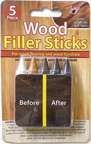 WOOD REPAIR FILLER STICKS - 5 COLORS -HIDES RESTORES AND REPAIRS SCRATCHES ON FLOOR OR FURNITURE (Stick Repair)