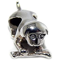 925 Solid Sterling Silver Dog Guarding His Bone Charm Bead