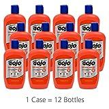 GOJO NATURAL ORANGE Pumice Hand Cleaner, 14 fl oz Quick-Acting Lotion Hand Cleaner Flip Cap Squeeze Bottles (Case of 12) - 0957-12