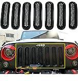 jeep wrangler grill cover - Danti Black Front Grill Mesh Grille Insert Kit For Jeep Wrangler Rubicon Sahara Jk 2007-2015 7PC