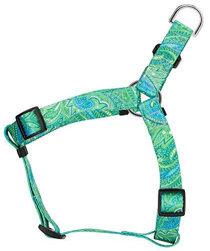 Country Brook Petz | Green Paisley Featherweight Step-in Dog Harness - Extra Small (Shih Paw Prints Tzu)