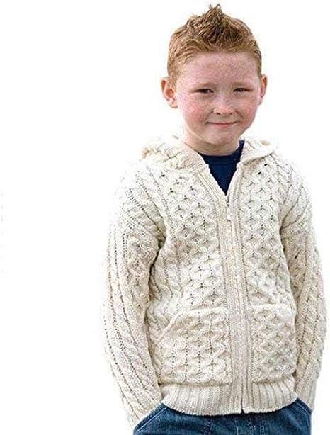 Aran Crafts 100% Merino Wool Childrens Hooded Zip Cardigan with Pockets Ecru