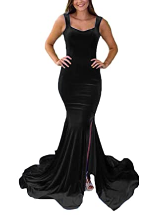 d1389a140b7c Sexy Mermaid Velvet Prom Dresses 2019 Long Straps Sweetheart Formal Evening  Dress Party Gowns for Women