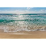 "Wall Mural, Photo Wallpaper SEASIDE 12'1""x8'4"" turquoise-blue sea, beach, sun, surf, waves"