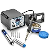 X-Tronic #4010-XTS-2'Quick Temp Gen 2 - Pro Series Edition' 60 Watt Soldering Station - 10 Min Sleep Function, Auto Cool Down, C/F Switch, 5 Extra Tips, Tube of Solder, Solder Sucker & Brass Sponge