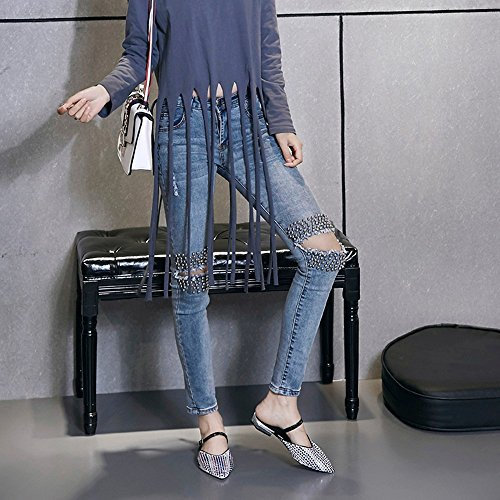 Verano nuevo Lady zapatillas Baotou zapatos planos sandalias perezoso hembra Rhinestones señaló Muller zapato White