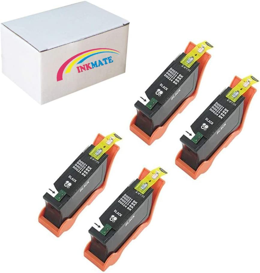 Inkcool 4-Pack BLACK Compatible Dell Series 21 22 23 24 Ink Cartridge for Dell All-In-One Printers P513w P713w V313 V313w V515w V715w