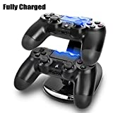 TNP PS4 Controller Charge Station - 2x USB Simultaneous Charger Dual Charging Dock Cradle Stand Accessory for Sony Playstation 4 Gaming Control with LED Indicator + Micro Cable (Black) [Playstation 4] by TNP Products