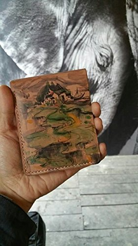 Cuero artesanales pintados a mano,Monedero de cuero marrón ...