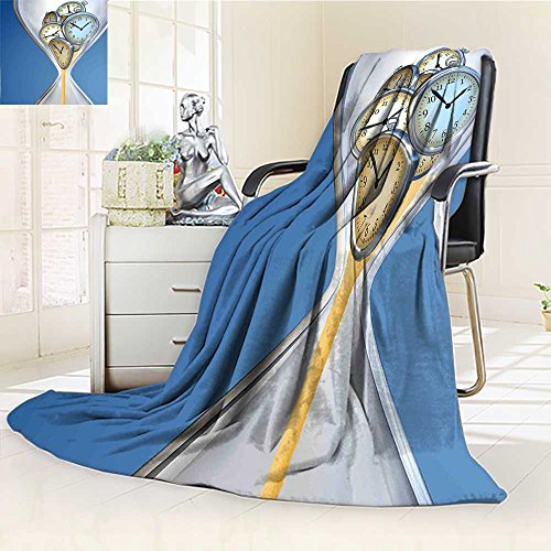 (Original Luxury Duplex Printed Blanket,Clock Hourglass Time Clocks with Sand Decorations for Home A Vintage Design Blue and Sand Brown Extra Soft, Plush, Fluffy, Warm/W59 x)