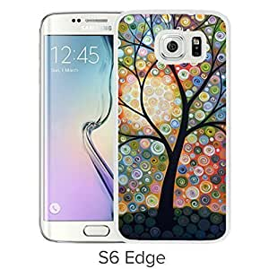 Durable and Fashionable Case Design with Abstract Original Modern Tree Landscape Visons Of Night Samsung Galaxy S6 Edge White Phone Case