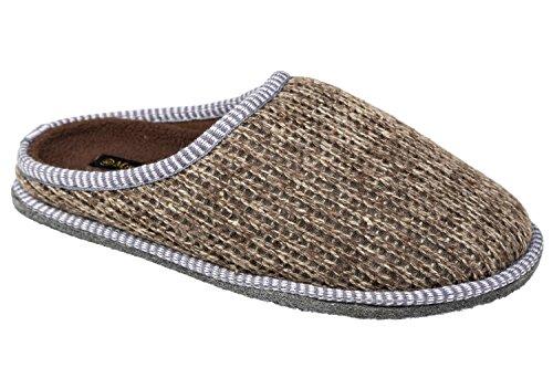 gibra - Zapatillas de estar por casa de tela para hombre marrón