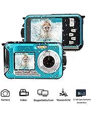 MUSSON Unterwasserkamera, 1080P Full HD Digitalkamera Wasserdicht 24 MP Videorecorder Selfie Camcorder Kamera Dual Screen DV zum Schnorcheln für Reisen Strand Ozean Urlaub Strand Sommer