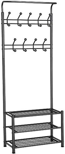 Topeakmart Metal Coat Rack Hall Tree Shoe Bench Entryway Storage Shelf, 18 Hooks Coat Rack Stand with 3-Tier Shoe Bench, Coat Hat Umbrella Rack, Coat Stand, Black