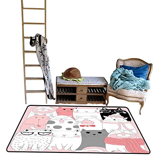 Cat, Kids Carpet Playmat Rug, Cute Cartoon Kittens Collection Funny Smiling Glasses Scarfs Doodle Humor (W48 x L60 Inch, Light Pink White Black)