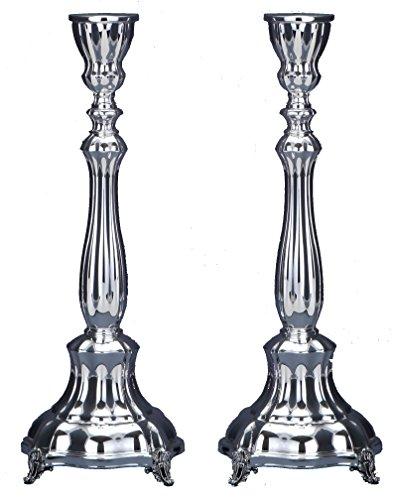 Hazorfim Bellagio Smooth Silver Candlesticks - Large Shabbat candlestick sterling silver judaica Israel Jerusalem Holy land gift Sabbath candles light .925 925 wedding gift present hatzorfim by Hazorfim