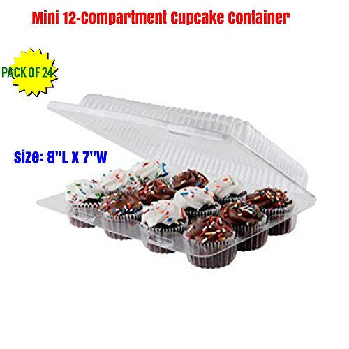 Mini 12-Compartment Cupcake Container -with Hinged Lid- with Superior High Quality, Strong and Sturdy, BPA Free, crystal Clear Plastic, Cupcake Container ( pack of 24)