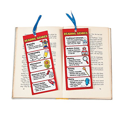 Fun Express Laminated Jumbo Reading Genre Bookmarks | 48 Count | Great for School & Learning Activities